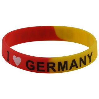 Armband Silikonarmband Silikon Band -  Bunt - Aufdruck -  I Love Germany
